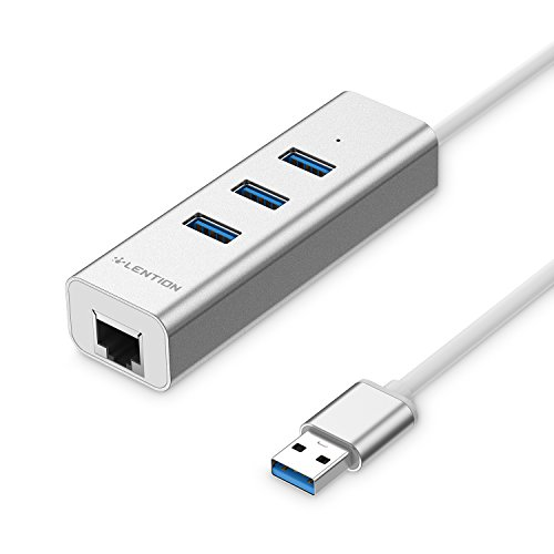 LENTION 3-Port USB 3.0 Hub with Ethernet Network LAN Adapter Compatible MacBook Air/Pro (Previous Generation), iMac, Surface, Chromebook and Other Devices with USB Type A Port (Silver)