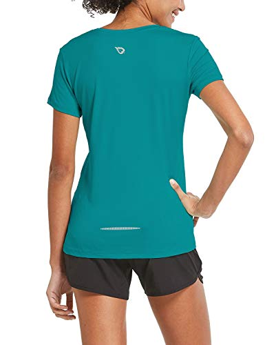 BALEAF Women's Athletic Short-Sleeved Loose Fit Running T-Shirts Lightweight Quick Dry Workout Yoga Crewneck Tops Teal Size L