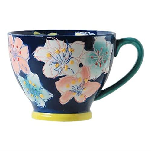 Taza de desayuno WGLL, pintada a mano, taza de agua de cerámica, taza de pareja, 11,5 x 9 cm