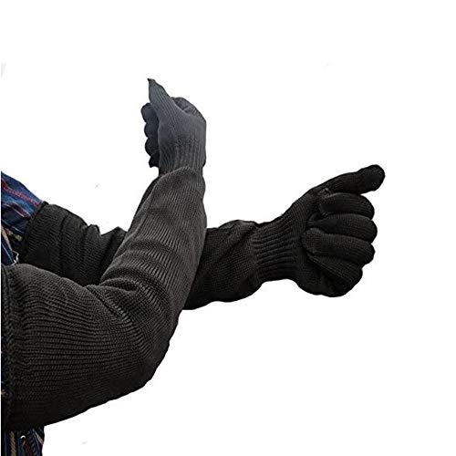 Buwico Schutzärmel, Kevlar, starker Schnittschutz/ Schild, 55cm lange Ärmel, schnitt- und hiebfest, Schwarz