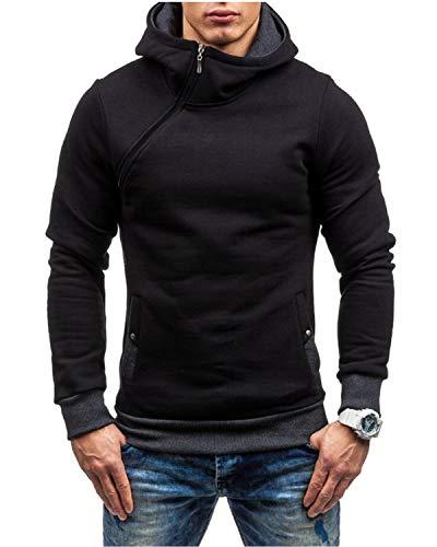 Yidarton Herren Kapuzenpullover Slim Fit Hoodie Sweatshirt Hooded Pullover (Schwarzgrau, Medium)