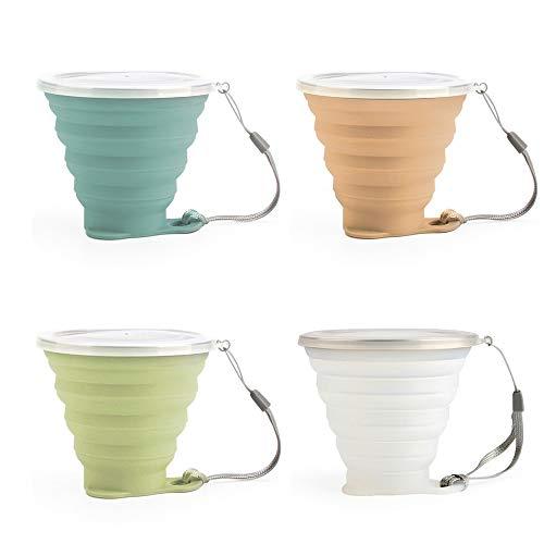 PPuujia Taza de café de 270 ml de silicona plegable al aire libre con cordón de viaje retráctil, mini taza de café y taza de enjuague bucal portátil (color: combinación 05)