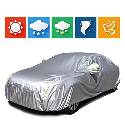 """cciyu Universal Car Cover Waterproof 190T Polyester for Most Cars Up to 210"""" All Weather Protection with Mirror Pockets Reflective - Silver Grey"""