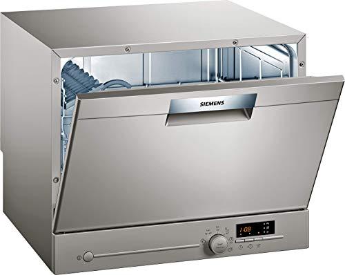 Siemens SK26E822EU iQ300 - Lavavajillas compacto independiente, A+, 174 kWh/año, 2240 L/año, varioSpeed, programa de cristal de 40°, aquaStop, acero inoxidable lacado