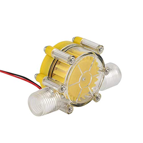 12V Micro Hydro Wasserturbinengenerator Neodym Magnet Ultra Low Wasserdruck Start Wasser Wasserkraft DIY Power Micro Hydro Generator (Gelb)