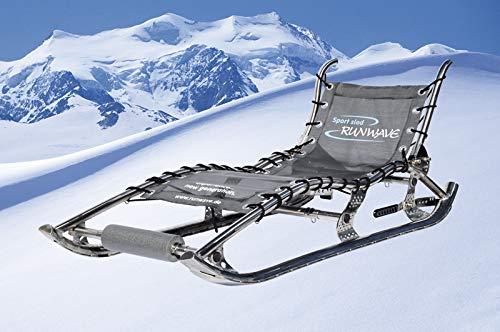 Runwave Premium (Edelstahl Hochglanz) Rodel Schlitten Bob Rodelgaudi Gaudirodel Rodelbahn für bis 2 Personen, für Zwei, bis 140 Kg belastbar, Präzise Spurtreue, Sitzkomfort und Robust