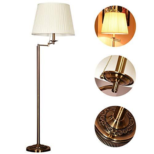 ZH-VBC Stehlampen Landhausstil, Classic Standleuchte, Stoffkunst Lampenschirm (320°Drehung) und Metallfuss, Handbemalte Verkupferte Stehlampe, für Wohnzimmer Familienzimmer Büro Schlafzimmer