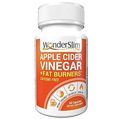 WonderSlim Apple Cider Vinegar Capsules - ACV Pills for Women & Men with Clinically Studied Capsimax Capaicin from Cayenne Pepper, GreenSelect Green Tea Extract ECGC, Crominex 3+ Chromium - 60 Count
