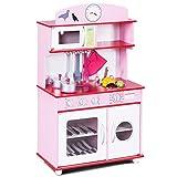 GOPLUS Kinderküche aus Holz, Spielküche mit Wasserhahn, Spielzeug-Küchenzeile, Spielzeugküche mit Schränken, Holzküche Kinder, Kinderspielküche mit Zubehör, Farbwahl (Rosa)