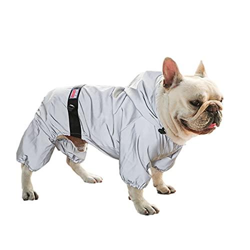 SUNGROO犬 カッパ 中型犬 レインコート 全体反光 犬用 ペット雨具 優れ素材 ポンチョ 完全防水 リード穴付 き 小型犬 防雪 軽量 犬用合羽 ドッグウェア 散歩 雨用(グレー,FB)