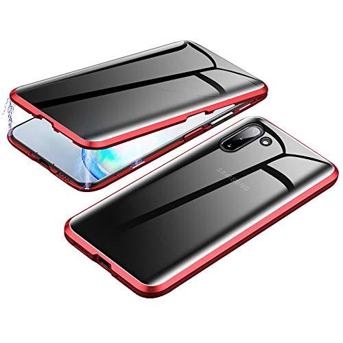 Jonwelsy Anti-Spy Cover per Samsung Galaxy Note 10, 360 Gradi Protezione Case, Privacy Vetro Temperato Anti Peep Custodia, Adsorbimento Magnetico Bumper Metallo Frame per Galaxy Note 10 (Rosso)
