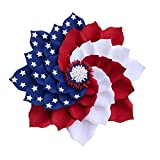17' Artificial Patriotic Wreath Red White and Blue Poly Burlap Flag Daisy Fourth of July Wreath and Veterans Day Decor Spring and Summer Indoor and Outdoor Decoration (A)