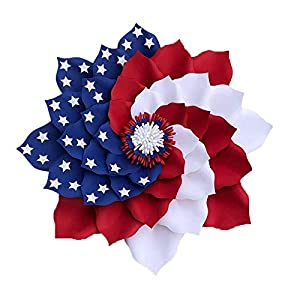 Patriotic Tulip Silk Wreath – 17.7 inch Independence Day Wreaths for 4th of July Memorial Day – Handmade Flowers Pattern Artificial Garland Hanging Pendants, for Front Door Festival Party Decorations