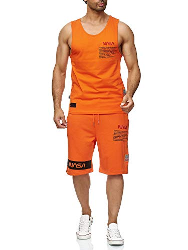 Red Bridge Herren Tank Top und Shorts Jogginganzug Kurze Hose Set NASA Logo Orange L