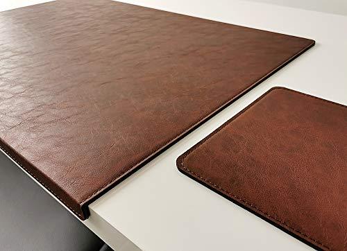 Vade de escritorio inclinado con alfombrilla para ratón en piel Lora 60 x 38, color marrón