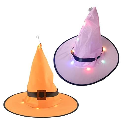 routinfly Sombrero unisex de Halloween, sombrero de Halloween, para niños, adultos, fiesta, baile o fiesta, disfraz de bruja con iluminación, 2 unidades