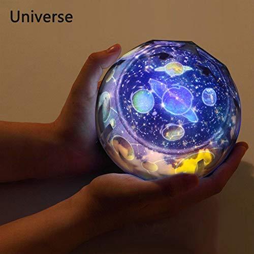 YLBHD Ciel Étoilé Night Light Planet Magic Projecteur Terre Univers LED Lampe Coloré Rotation Clignotant Étoile Enfants Bébé Cadeau De Noël
