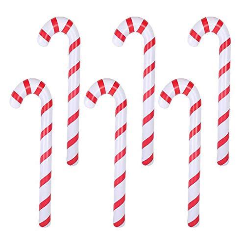 INTVN 6 Pezzi Decoración de Bastón de Caramelo Inflables De Navidad Globo De Bastón Novedad Gigante Globos para Artículos de Fiesta de Navidad with Pump 87 cm (Rojo Blanco)