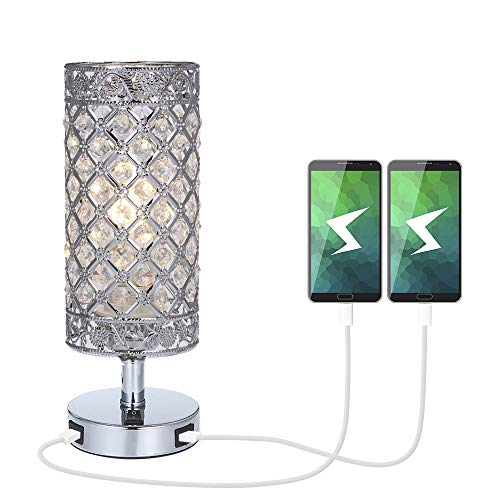 Lámpara de Mesa de Cristal,Tomshine Lámpara Mesilla de Noche, Doble USB Recargable, Pantalla de Lámpara Plateada con Cristal K5,para Sala de Estar, Dormitorio, Comedor