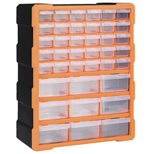 vidaXL Organizador Multicajones con 39 Cajones Herramientas Armario Almacenamiento Pared Taller Caja Manualidades Artesanía Costura Clavos