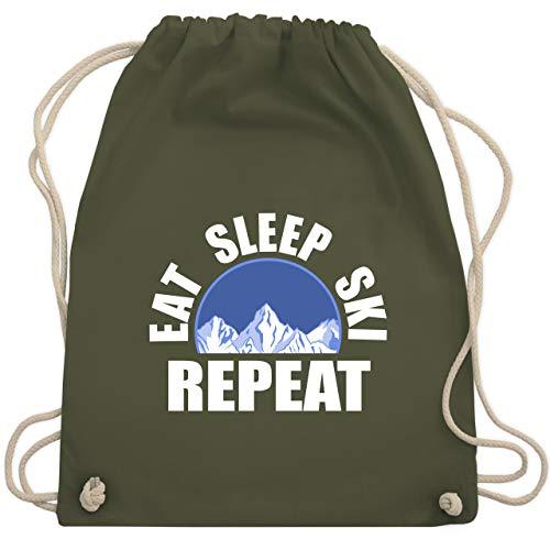 Après Ski - Eat - Sleep - Ski - Repeat - Unisize - Olivgrün - b018egdobs - WM110 - Turnbeutel und Stoffbeutel aus Bio-Baumwolle