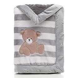 Landor - Coperta per bambini a doppio strato, in flanella morbida, invernale e calda, a strisce, coperta per passeggino, comoda coperta