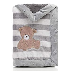 Manta para bebé, LANDOR de doble capa, suave manta para bebé, invierno, a rayas, felpa, manta cómoda para cochecito (oso gris)