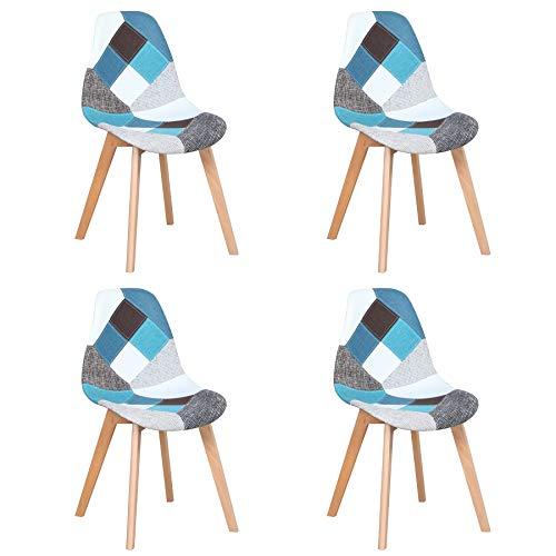 Juego de 4 Sillas de Comedor Sillas de Patchwork de Colores con Patas de Madera Sillón Escandinavo para Cocina, Sala de Estar, Cafetería (Azul)