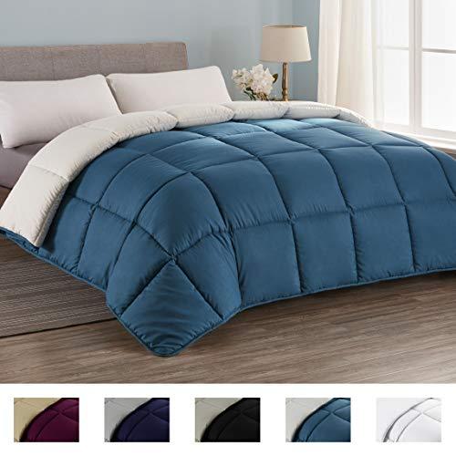 Seward Park All Season Down Alternative Quilted Reversible Comforter, Hypoallergenic, Lightweight, Plush Microfiber Fill, Duvet Insert or Summer Comforter, Teal/White, Full/Queen Size
