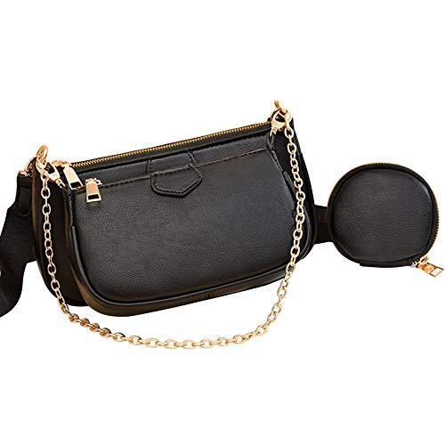 IOOI Mehrzweck Umhängetasche Damen Pochette Modische 5-in-1 Geldbörse Reißverschluss Mode Handtaschen mit Münzbeutel (Schwarz)