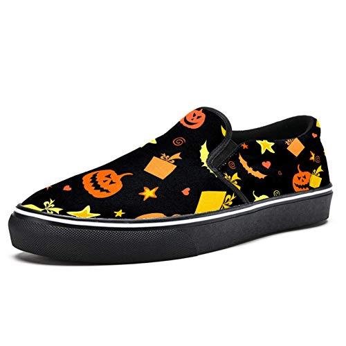 TIZORAX - Mocasines para Halloween, diseño de calabaza, diseño de murciélago, diseño de estrellas de la luna, color Multicolor, talla 42.5 EU