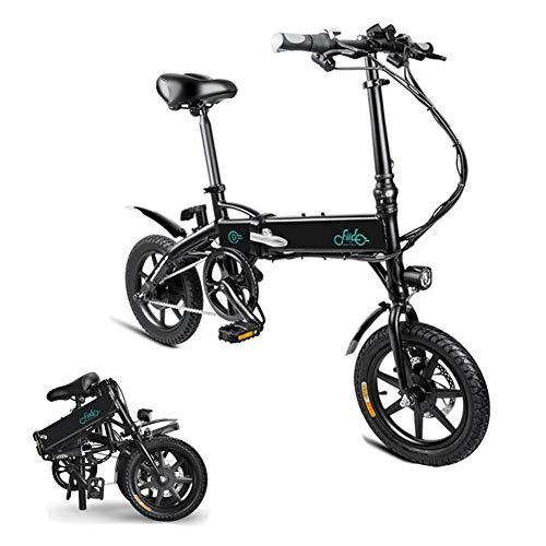 Faltrad E-Bike,leichtes 250W-Aluminium-Elektrofahrrad Mit Pedal Für Erwachsene Und Jugendliche,14Zoll-Elektrofahrrad Mit 36-V/7,8-Ah-Lithium-Ionen-Batterie,professionelle Schnellschaltung,Schwarz/Weiß