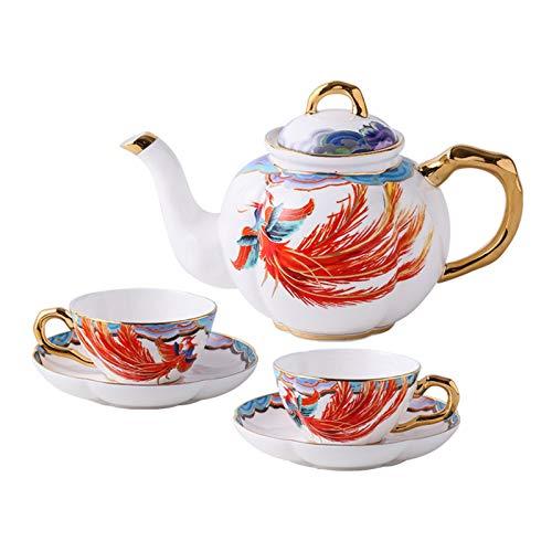 Último Conjunto de 5 piezas del 45% en el juego de café de porcelana fina del palacio chino del 45%, adecuado para 2 personas, taza de café a domicilio de la taza de Phoenix, la mejor opción para la b