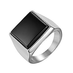 JewelryWe Schmuck Herren-Ring, Edelstahl Quadrat Siegelringe Bandringe Punk Hochzeit Engagement Ringe mit Gravur, Silber Schwarz, Größe 54