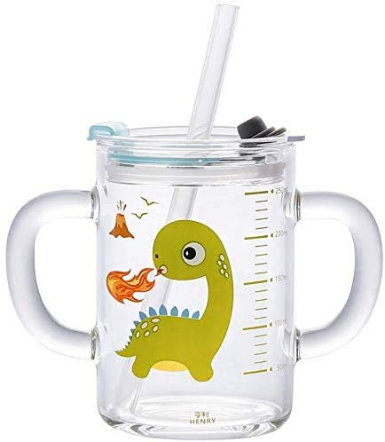 Taza de leche para niños con 2 pajitas y tapa, taza de cristal transparente, 250 ml, taza de agua, medidor de dibujo animado impreso con doble asa, taza de aprendizaje para niñas y niños