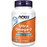 NOW Supplements, Ultra Omega-3 Molecularly Distilled and Enteric Coated, 90 Softgels