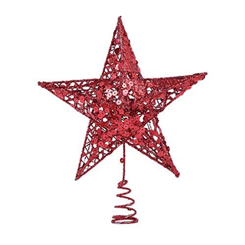 VORCOOL Weihnachtsbaum Topper Fünfzackiger Stern Weihnachtsbaum Topper Weihnachtsdekoration Requisiten Weihnachtstischdekoration (25Cm Rot)