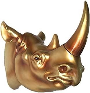 SDBRKYH Animal Head Sculpture, Wall-Mounted Rhinoceros Animal Head Wall Sculpture Home Garden Statue Trophy Head Wall Art