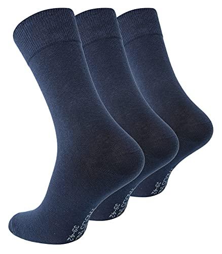Paolo Renzo Business-Socken 3 Paar - Hochwertige Baumwoll Socken - Anzugssocken - Größe 39/42 - Marineblau