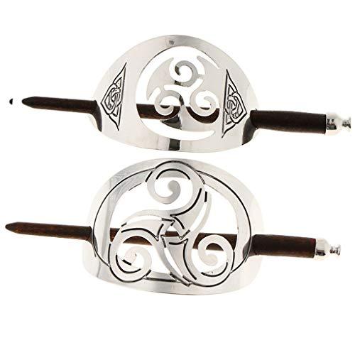 2er Set Keltische Haarspangen Haarclips Haarnadeln Haar-Dekoration mit Stab aus Holz