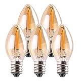 Bombilla LED C7, bombillas de vela ligeras de 0,5 vatios, bombilla de luz ámbar decorativa Edison Night Light E14 Candelabra LED bombilla de filamento LED, blanco cálido de 2200K 5 paquetes