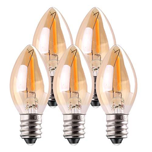 C7 LED-Birne,Genixgreen 0.5W Lichtkerzenlampen,Amber Glow 4w Glühlampenersatz Dekorativer Edison E14 Kandelaber Sockel führte Filament Nachtlampe extrem warmweiß 2200K nicht dimmbar 5 Stück