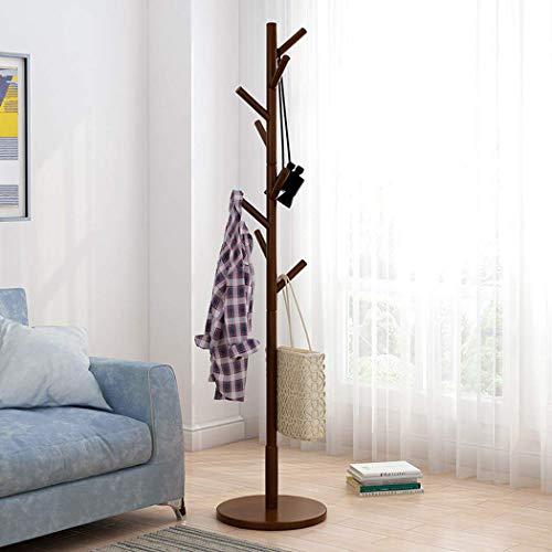 TTOOY Perchero de Madera con Soporte para Dormitorio, Que Ahorra Espacio, esquinero, árbol, Entrada, Pasillo, árbol con Base Redonda sólida y 8 Ganchos para Sombrero, Ropa, Bolso, bufand