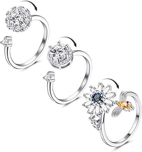Adramata 3 Piezas Fidget Spinner Rings para Mujeres Cubic Zirconia Anillo...
