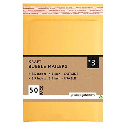 PackageZoom 8.5 x 14.5 Kraft Bubble Mailers 3 Padded Envelopes 50 Pack