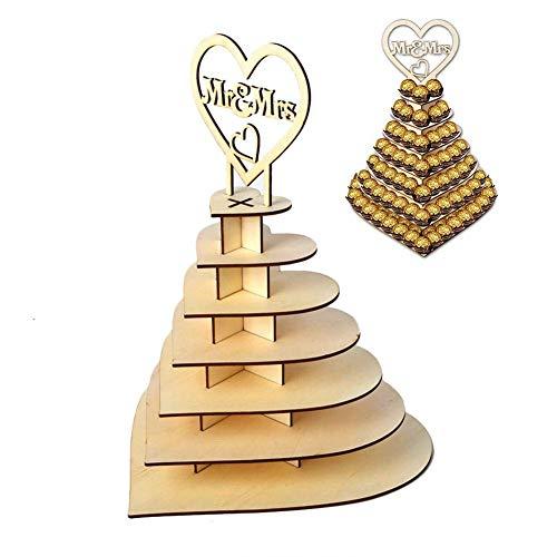 CSPone | Rocher Ferrero Herz Display Ständer Mittelstück Perfekt für Parties, Hochzeiten & Candy Bar, Hölzerner Schokoladen-Ausstellungsstand, Hochzeitsfest Dekoration - 7 Schichten