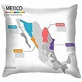 Nifdhkw Plantilla de infografías del Mapa de México Regiones Educación Fundas de Cojines Acento Hogar Sofá Funda de cojín Funda de Almohada Regalo Decorativo
