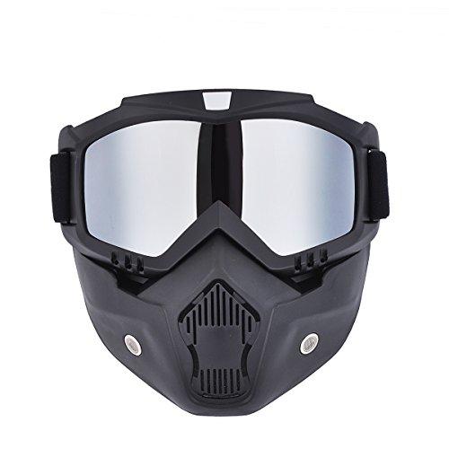 Madbike Masque de motocross à lunettes de protection détachables et filtre au niveau de la bouche, pour casques de style vintage, Silver
