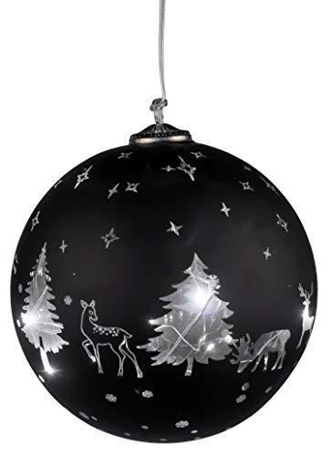 dekojohnson Schwarze LED-Glas-Kugel mit Silber Rentieren Tannenbäumen Timerfunktion Fensterdeko Christbaumschmuck Weihnachtsdeko Deko-Fenster-Hänger 15Ø