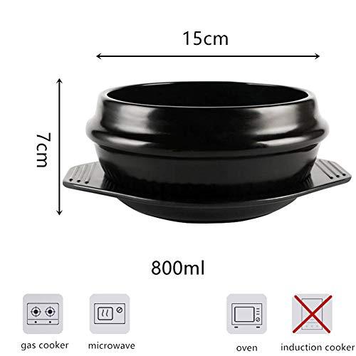 Koreanische Stein-Schüssel für Bibimbap, hohe Temperaturbeständigkeit, Spodumen mit Tablett, keramik, schwarz, 800 ml